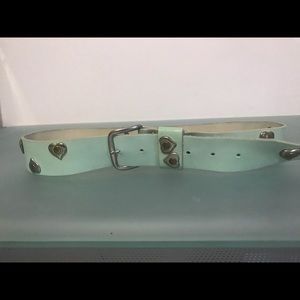 Accessories - Vintage leather and metal heart belt